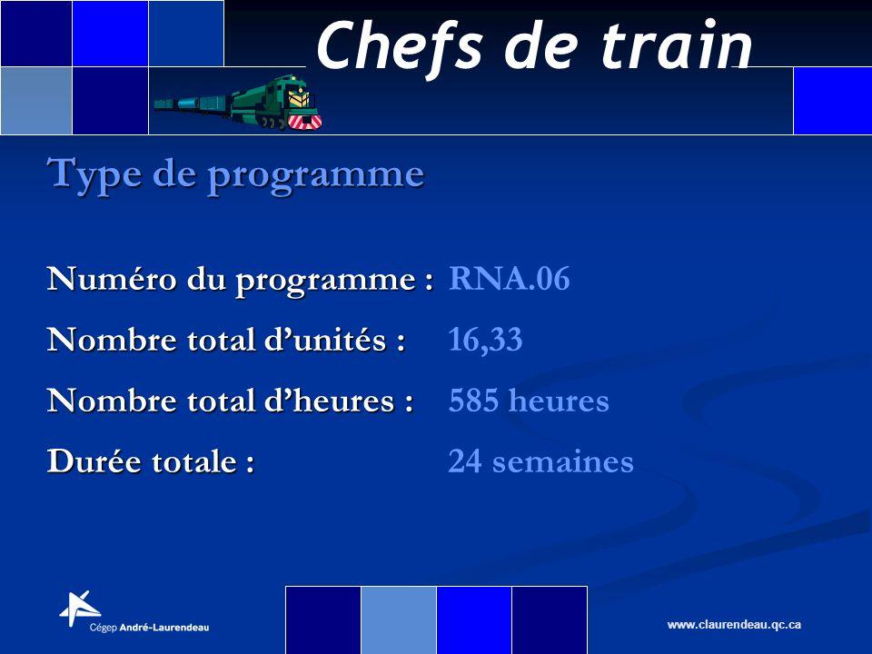 Chefs de train www.claurendeau.qc.ca Type de programme Numéro du programme : Numéro du programme :RNA.06 Nombre total dunités : Nombre total dunités :