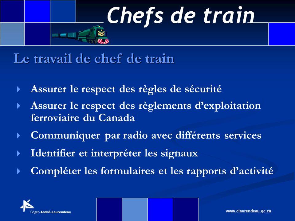 Chefs de train www.claurendeau.qc.ca Assurer le respect des règles de sécurité Assurer le respect des règlements dexploitation ferroviaire du Canada C