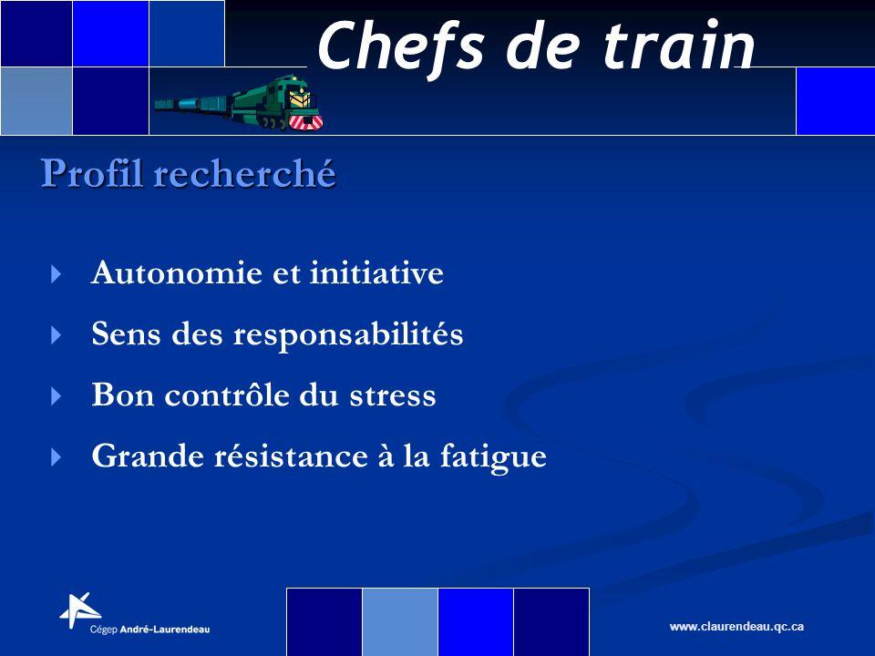 Chefs de train www.claurendeau.qc.ca Autonomie et initiative Sens des responsabilités Bon contrôle du stress Grande résistance à la fatigue Profil rec