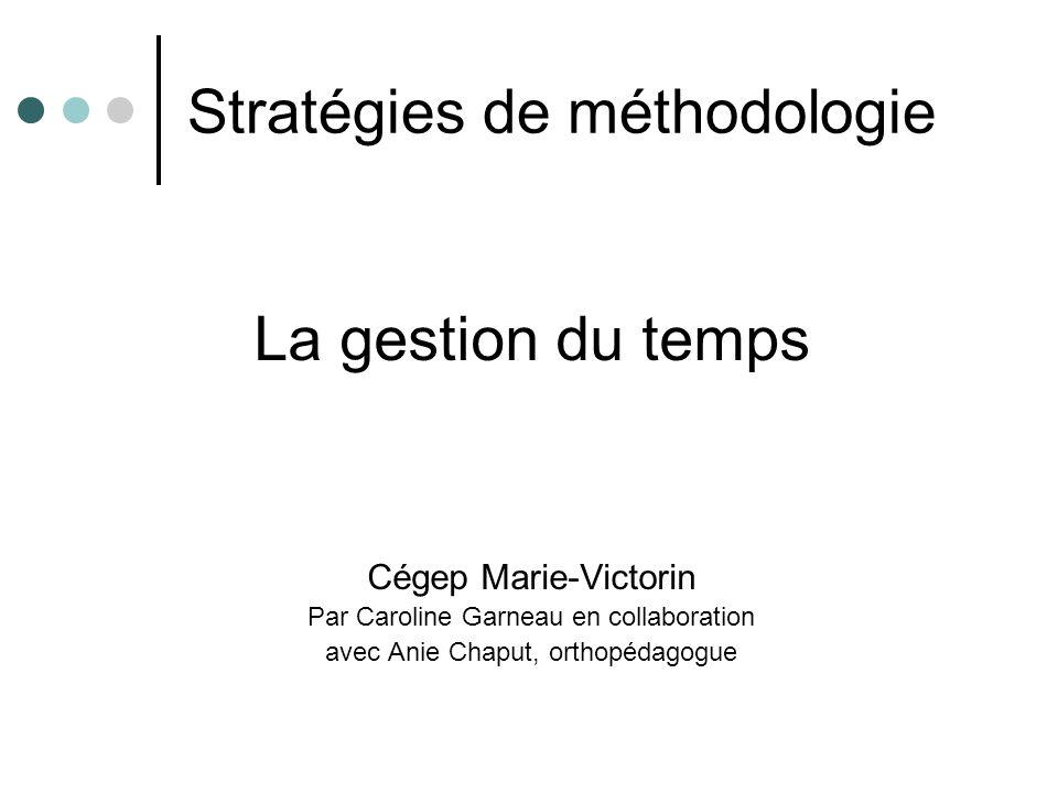 Stratégies de méthodologie La gestion du temps Cégep Marie-Victorin Par Caroline Garneau en collaboration avec Anie Chaput, orthopédagogue