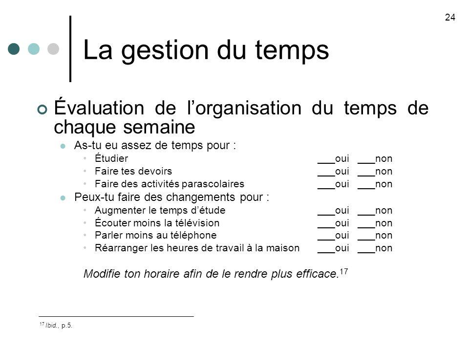 La gestion du temps Évaluation de lorganisation du temps de chaque semaine As-tu eu assez de temps pour : Étudier___oui ___non Faire tes devoirs___oui