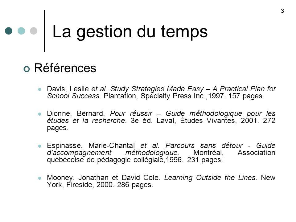 La gestion du temps Références Davis, Leslie et al.