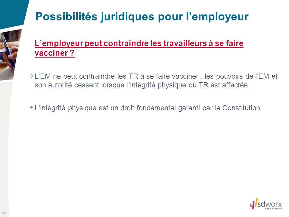 12 Possibilités juridiques pour lemployeur Lemployeur peut contraindre les travailleurs à se faire vacciner ? LEM ne peut contraindre les TR à se fair