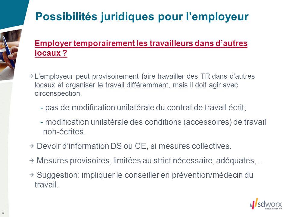 8 Possibilités juridiques pour lemployeur Employer temporairement les travailleurs dans dautres locaux ? Lemployeur peut provisoirement faire travaill