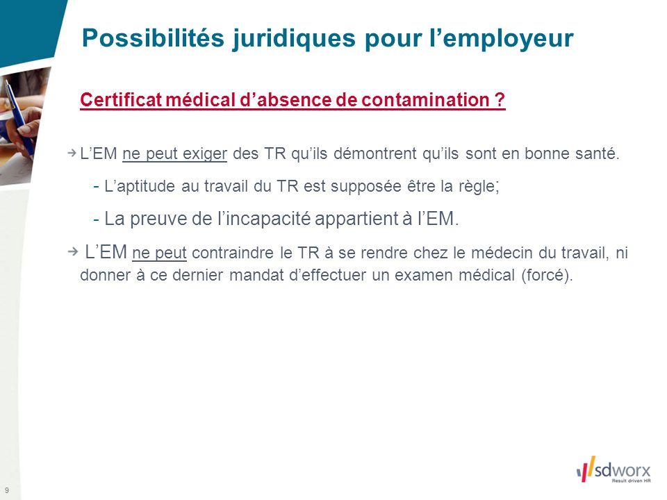 9 Possibilités juridiques pour lemployeur Certificat médical dabsence de contamination ? LEM ne peut exiger des TR quils démontrent quils sont en bonn