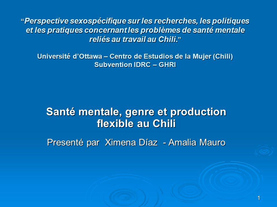 1 Perspective sexospécifique sur les recherches, les politiques et les pratiques concernant les problèmes de santé mentale reliés au travail au Chili.