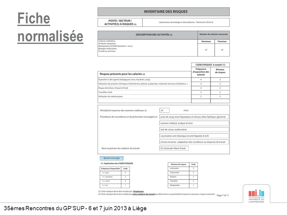 Fiche normalisée 35èmes Rencontres du GP'SUP - 6 et 7 juin 2013 à Liège
