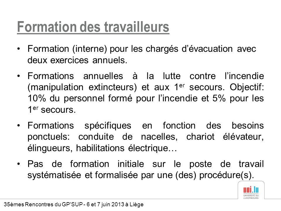 Formation des travailleurs Formation (interne) pour les chargés dévacuation avec deux exercices annuels. Formations annuelles à la lutte contre lincen
