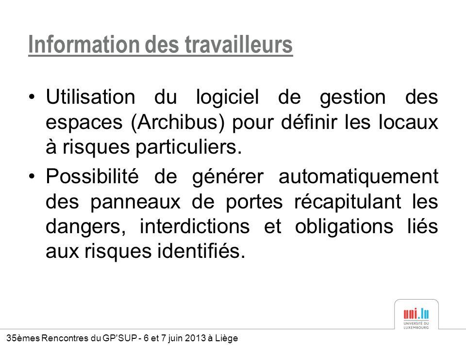 Information des travailleurs Utilisation du logiciel de gestion des espaces (Archibus) pour définir les locaux à risques particuliers. Possibilité de