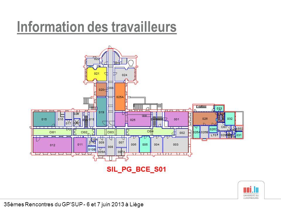 Information des travailleurs 35èmes Rencontres du GP'SUP - 6 et 7 juin 2013 à Liège