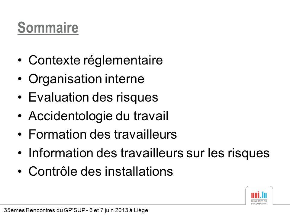 Sommaire Contexte réglementaire Organisation interne Evaluation des risques Accidentologie du travail Formation des travailleurs Information des trava