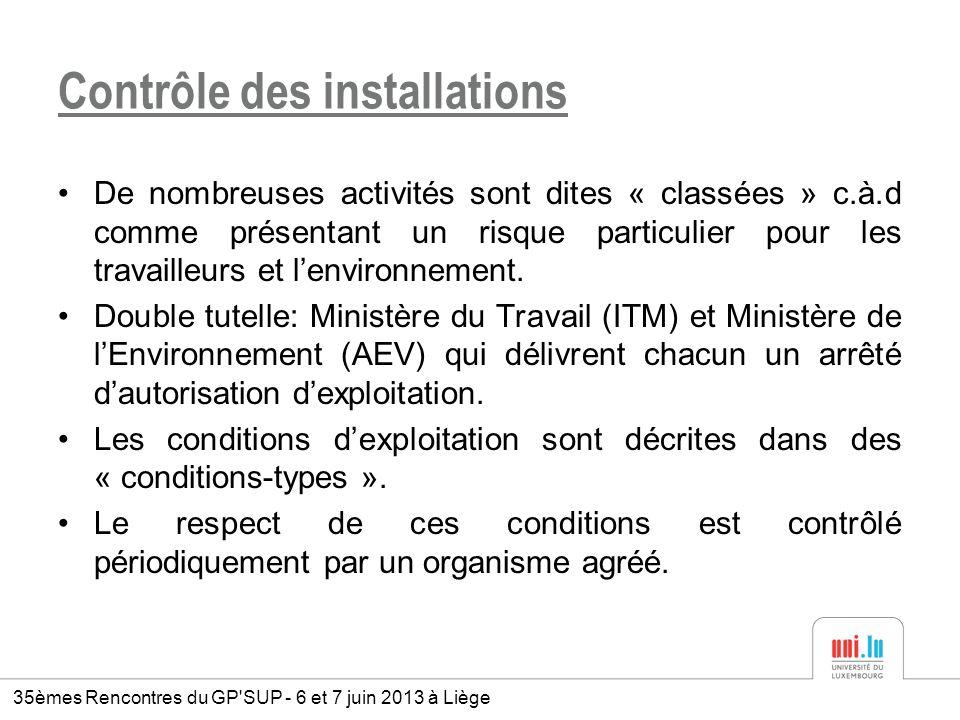 Contrôle des installations De nombreuses activités sont dites « classées » c.à.d comme présentant un risque particulier pour les travailleurs et lenvi
