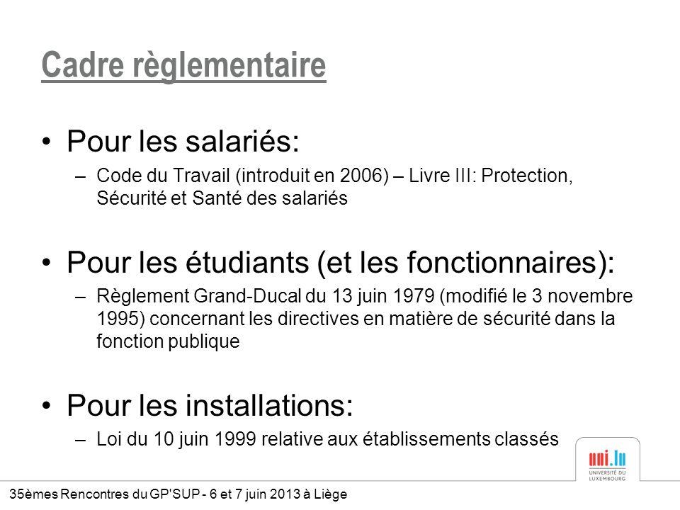 Cadre règlementaire Pour les salariés: –Code du Travail (introduit en 2006) – Livre III: Protection, Sécurité et Santé des salariés Pour les étudiants