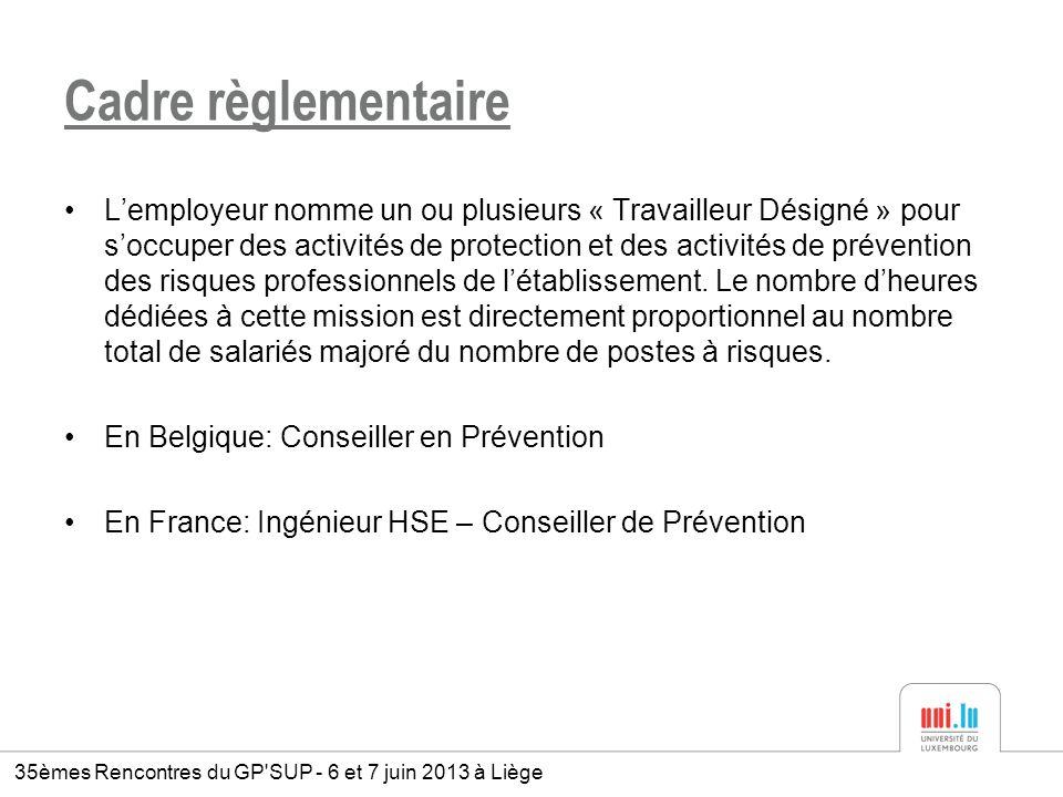 Cadre règlementaire Lemployeur nomme un ou plusieurs « Travailleur Désigné » pour soccuper des activités de protection et des activités de prévention