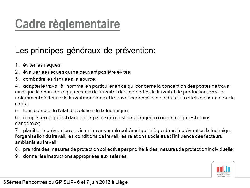 Cadre règlementaire Les principes généraux de prévention: 1. éviter les risques; 2. évaluer les risques qui ne peuvent pas être évités; 3. combattre l