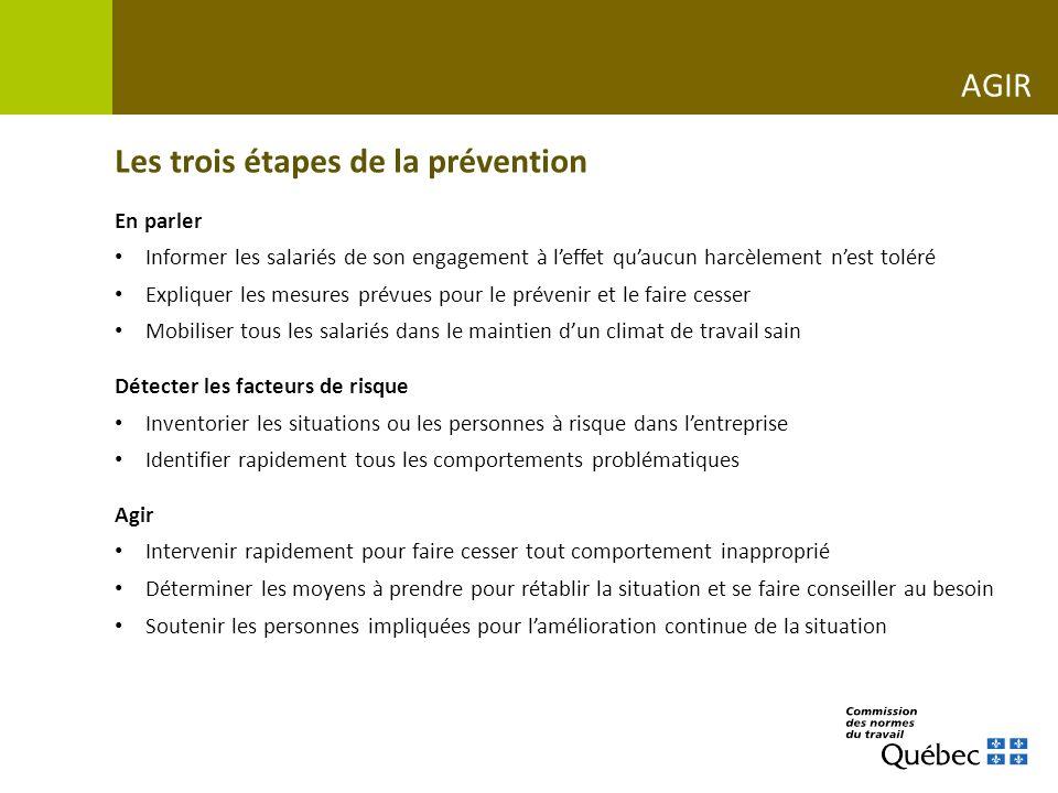 Les trois étapes de la prévention En parler Informer les salariés de son engagement à leffet quaucun harcèlement nest toléré Expliquer les mesures pré