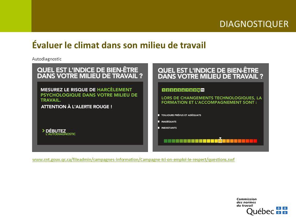 Évaluer le climat dans son milieu de travail www.cnt.gouv.qc.ca/fileadmin/campagnes-information/Campagne-Ici-on-emploi-le-respect/questions.swf DIAGNO