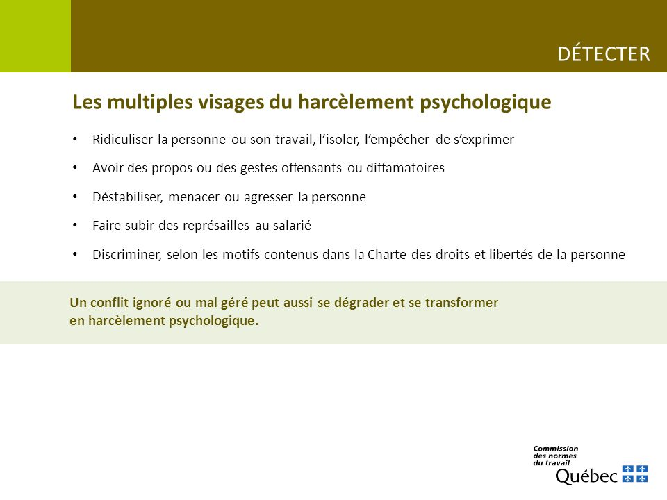 Une situation de harcèlement psychologique au travail Le restaurant CAPSULE VIDÉO www.cnt.gouv.qc.ca/situations-de-vie-au-travail/le-harcelement-psychologique-ca-se-previent