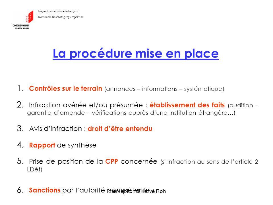 Intervention d'Hervé Roh Inspection cantonale de l'emploi Kantonale Beschäftigungsinspektion La procédure mise en place 1. Contrôles sur le terrain (a