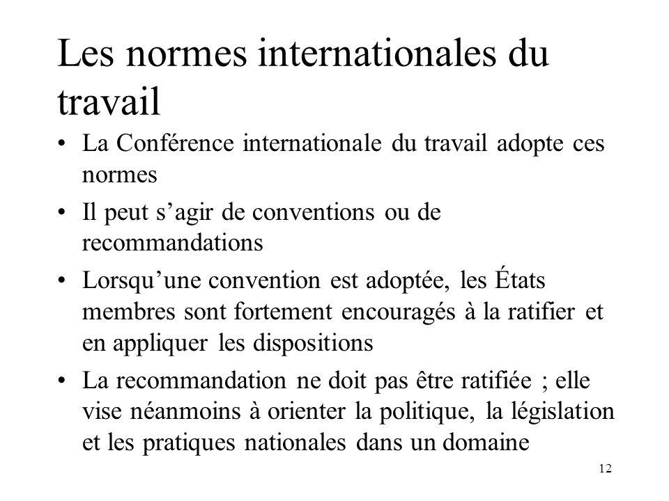 12 Les normes internationales du travail La Conférence internationale du travail adopte ces normes Il peut sagir de conventions ou de recommandations
