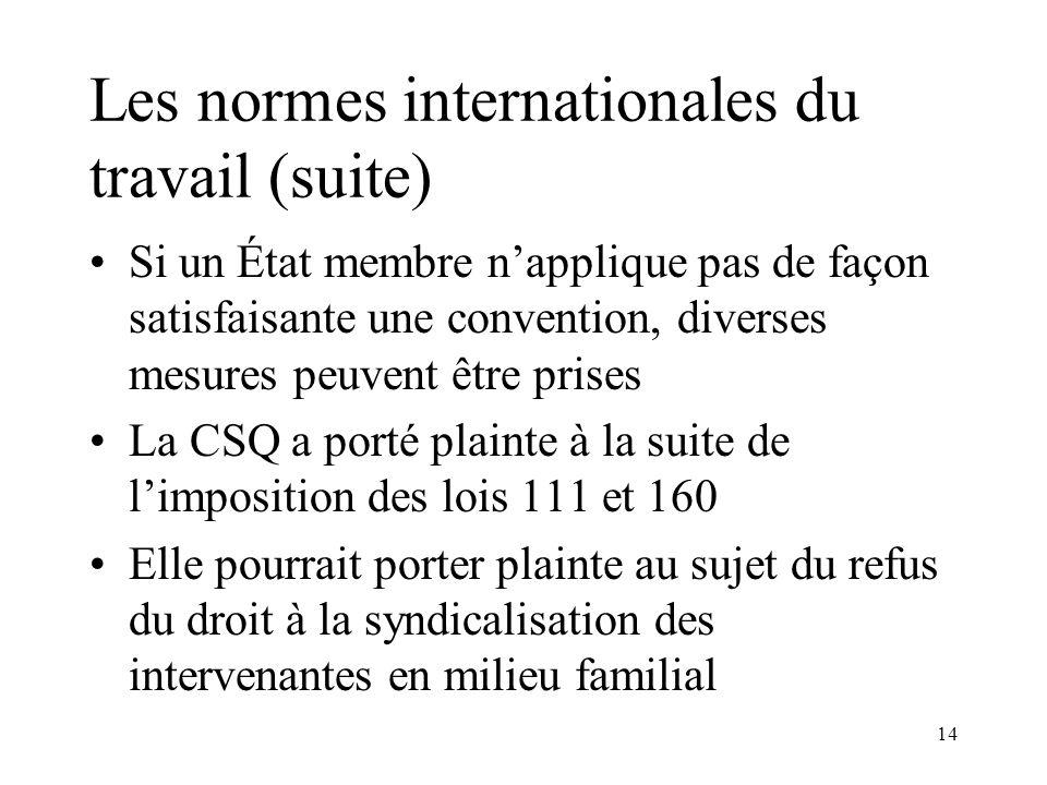 14 Les normes internationales du travail (suite) Si un État membre napplique pas de façon satisfaisante une convention, diverses mesures peuvent être