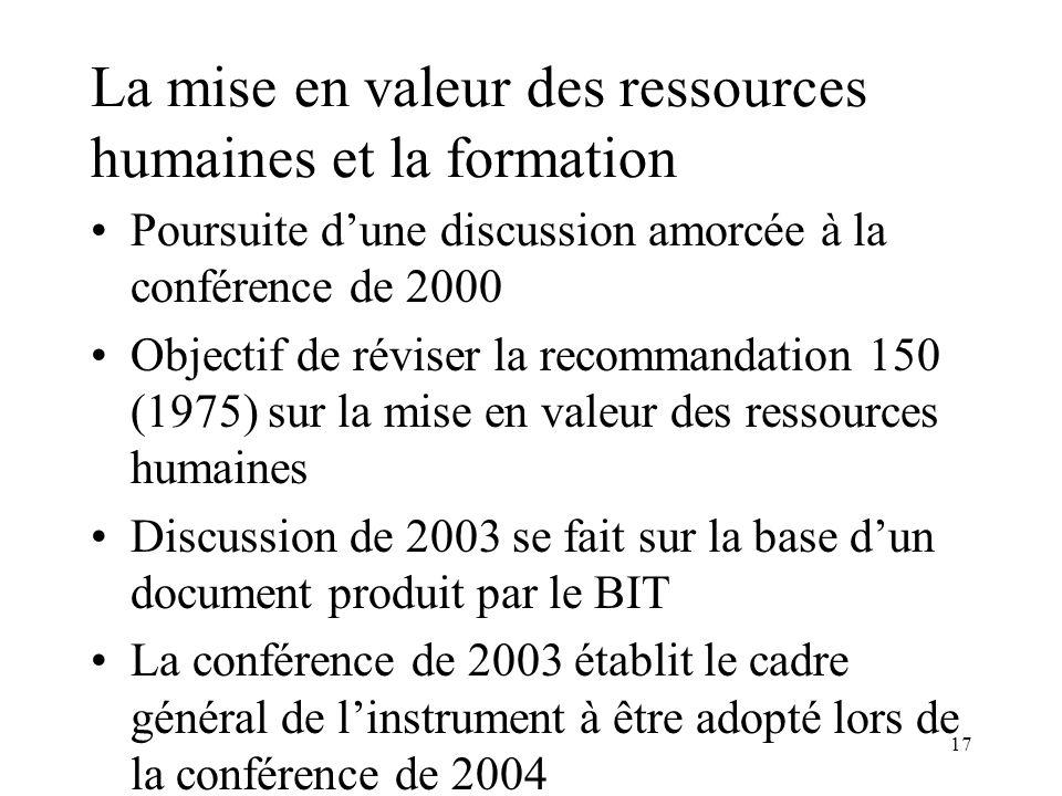 17 La mise en valeur des ressources humaines et la formation Poursuite dune discussion amorcée à la conférence de 2000 Objectif de réviser la recomman