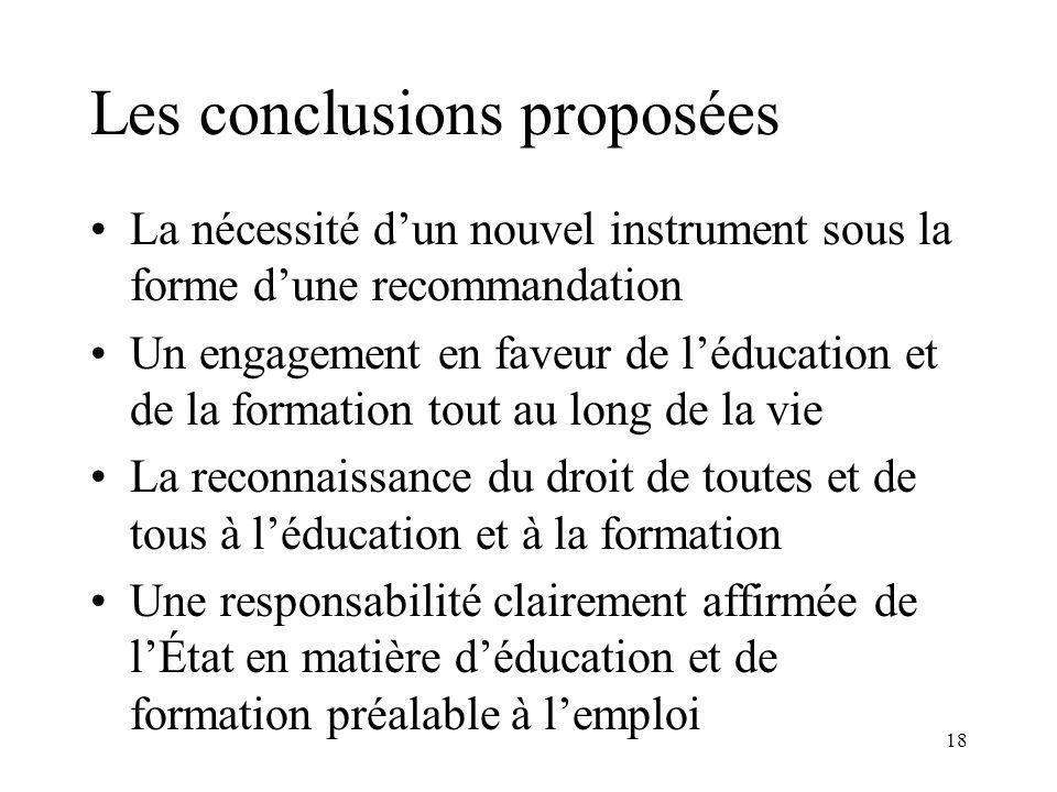 18 Les conclusions proposées La nécessité dun nouvel instrument sous la forme dune recommandation Un engagement en faveur de léducation et de la forma