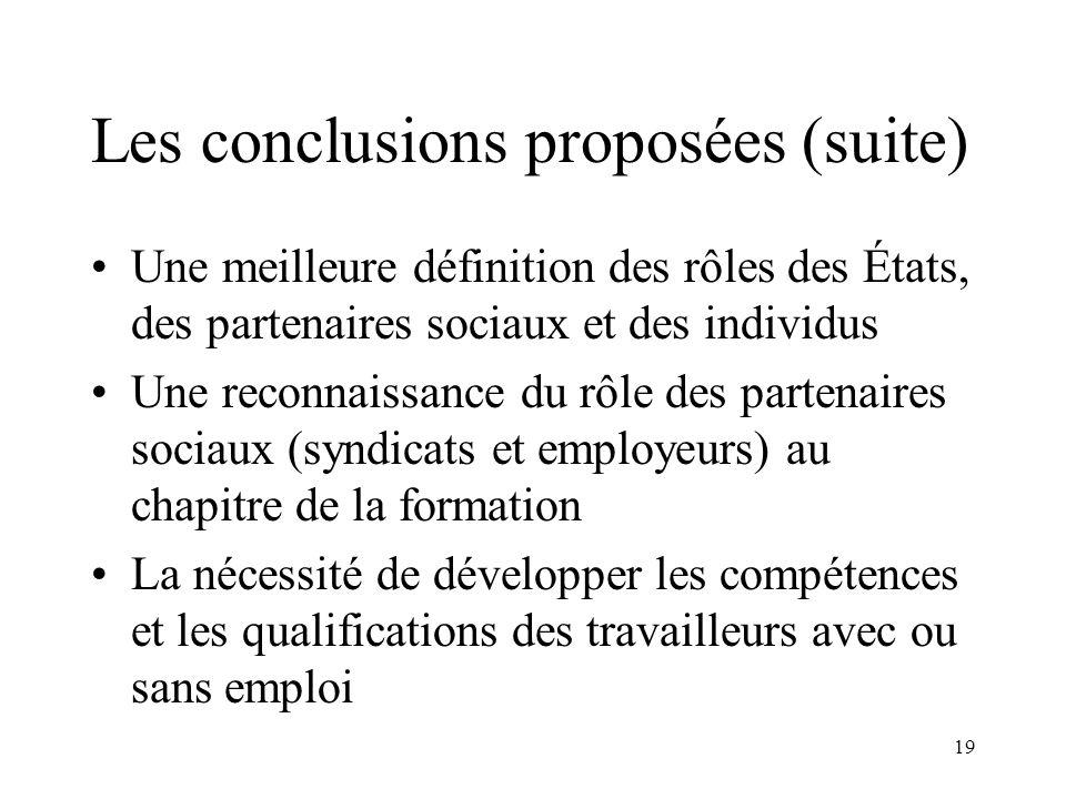 19 Les conclusions proposées (suite) Une meilleure définition des rôles des États, des partenaires sociaux et des individus Une reconnaissance du rôle
