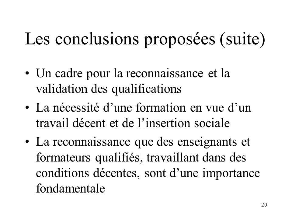 20 Les conclusions proposées (suite) Un cadre pour la reconnaissance et la validation des qualifications La nécessité dune formation en vue dun travai