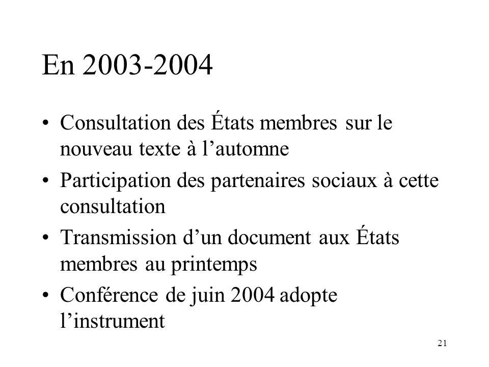21 En 2003-2004 Consultation des États membres sur le nouveau texte à lautomne Participation des partenaires sociaux à cette consultation Transmission