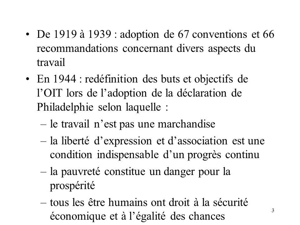 3 De 1919 à 1939 : adoption de 67 conventions et 66 recommandations concernant divers aspects du travail En 1944 : redéfinition des buts et objectifs