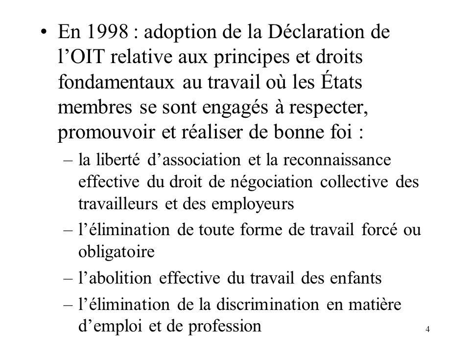 15 En 1999, lOIT avait adopté 182 conventions et 190 recommandations sur des sujets tels : –labolition du travail forcé –le travail des enfants –la liberté syndicale et le droit de négociation collective –légalité des chances et de traitement –la prévention des accidents du travail Le Canada a ratifié la plupart de ces conventions