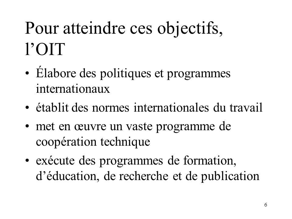 6 Pour atteindre ces objectifs, lOIT Élabore des politiques et programmes internationaux établit des normes internationales du travail met en œuvre un