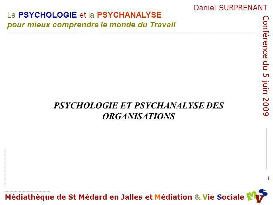 La PSYCHOLOGIE et la PSYCHANALYSE pour mieux comprendre le monde du Travail Médiathèque de St Médard en Jalles et Médiation & Vie Sociale Daniel SURPRENANT Conférence du 5 juin 2009 132 Homme dorganisation.