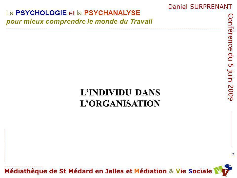 La PSYCHOLOGIE et la PSYCHANALYSE pour mieux comprendre le monde du Travail Médiathèque de St Médard en Jalles et Médiation & Vie Sociale Daniel SURPRENANT Conférence du 5 juin 2009 133 Personnalité organisationnelle.