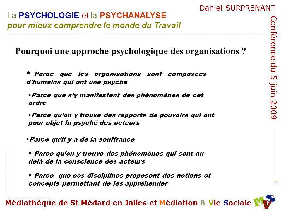 La PSYCHOLOGIE et la PSYCHANALYSE pour mieux comprendre le monde du Travail Médiathèque de St Médard en Jalles et Médiation & Vie Sociale Daniel SURPRENANT Conférence du 5 juin 2009 96 Troubles mentaux.