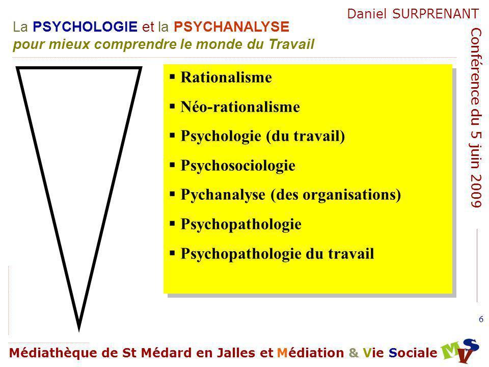 La PSYCHOLOGIE et la PSYCHANALYSE pour mieux comprendre le monde du Travail Médiathèque de St Médard en Jalles et Médiation & Vie Sociale Daniel SURPRENANT Conférence du 5 juin 2009 127 Approche psychanalytique des organisations.