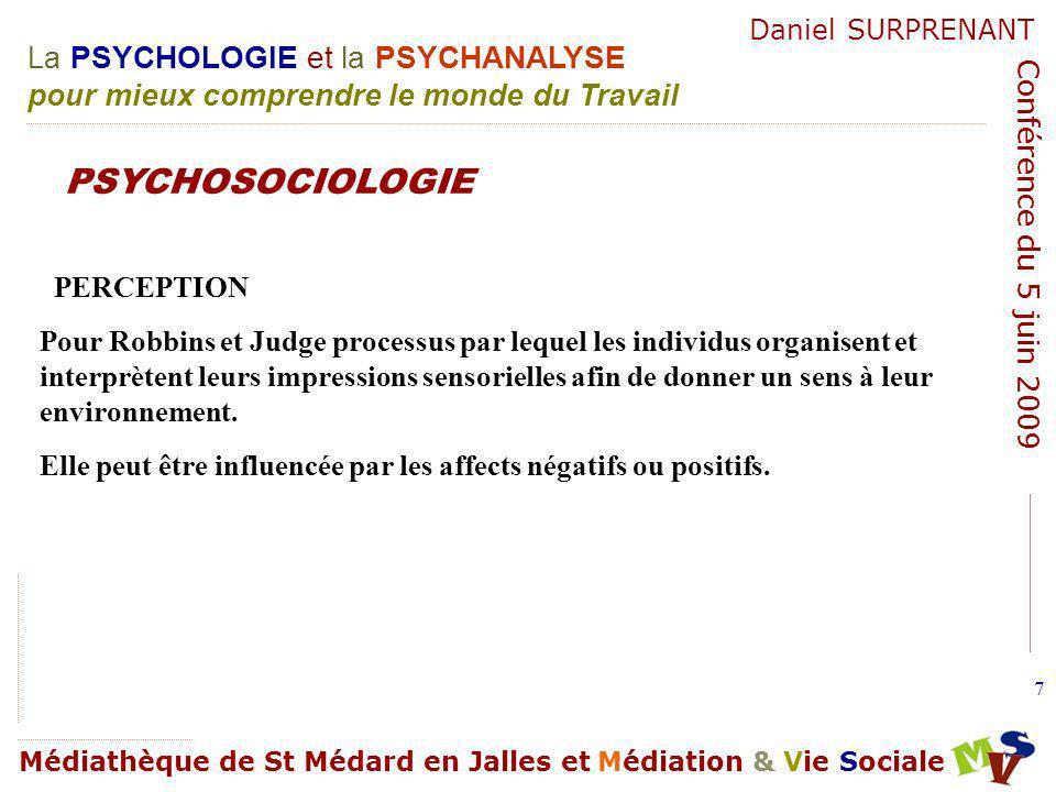 La PSYCHOLOGIE et la PSYCHANALYSE pour mieux comprendre le monde du Travail Médiathèque de St Médard en Jalles et Médiation & Vie Sociale Daniel SURPRENANT Conférence du 5 juin 2009 108 Organisation saine.