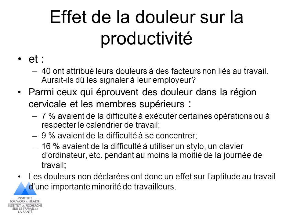 Effet de la douleur sur la productivité et : –40 ont attribué leurs douleurs à des facteurs non liés au travail. Aurait-ils dû les signaler à leur emp