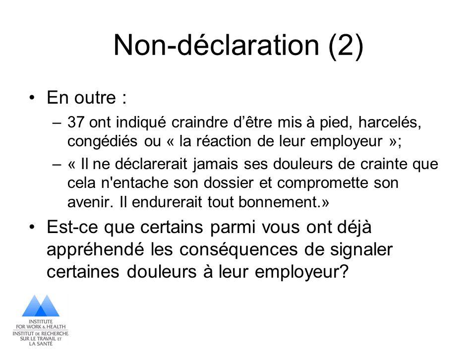 Non-déclaration (2) En outre : –37 ont indiqué craindre dêtre mis à pied, harcelés, congédiés ou « la réaction de leur employeur »; –« Il ne déclarera