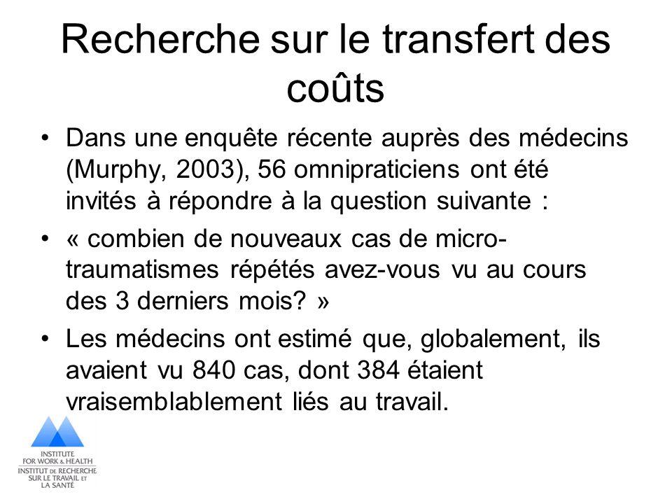Recherche sur le transfert des coûts Dans une enquête récente auprès des médecins (Murphy, 2003), 56 omnipraticiens ont été invités à répondre à la qu