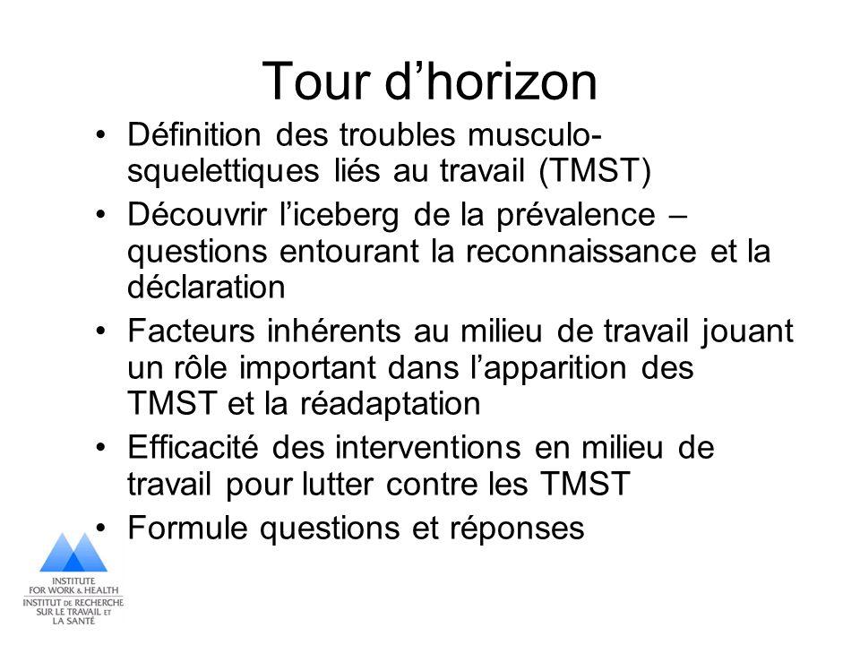Tour dhorizon Définition des troubles musculo- squelettiques liés au travail (TMST) Découvrir liceberg de la prévalence – questions entourant la recon