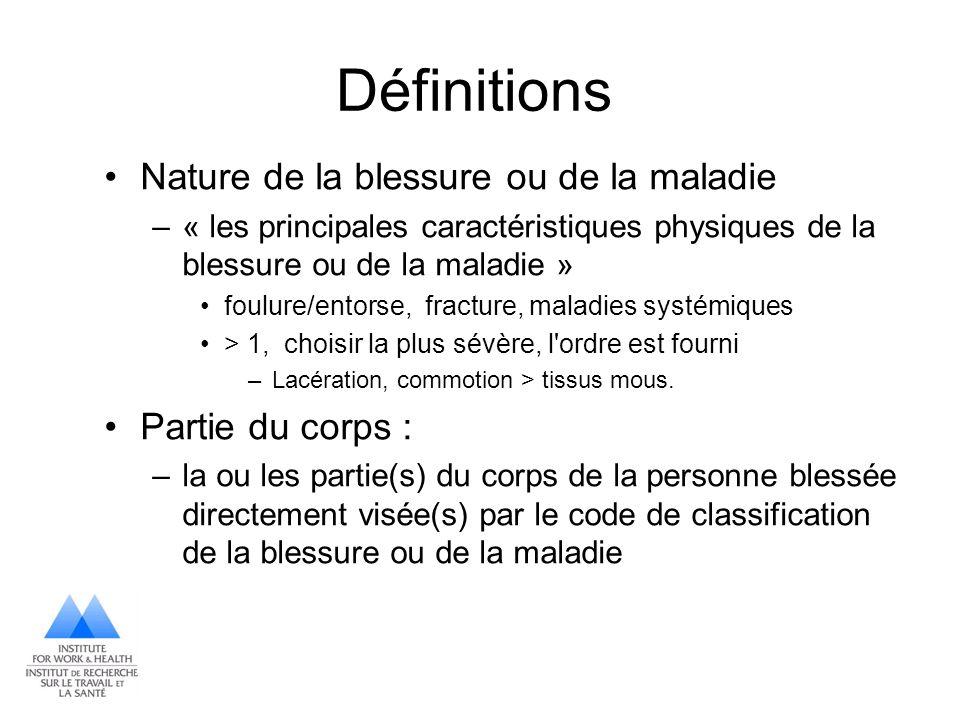 Définitions Nature de la blessure ou de la maladie –« les principales caractéristiques physiques de la blessure ou de la maladie » foulure/entorse, fr