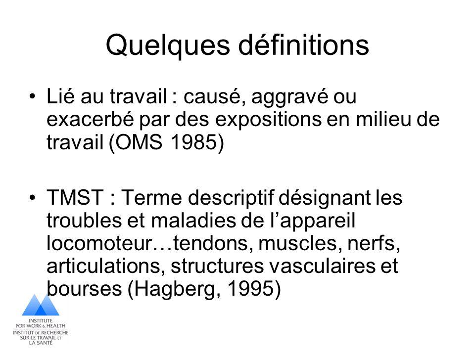 Quelques définitions Lié au travail : causé, aggravé ou exacerbé par des expositions en milieu de travail (OMS 1985) TMST : Terme descriptif désignant