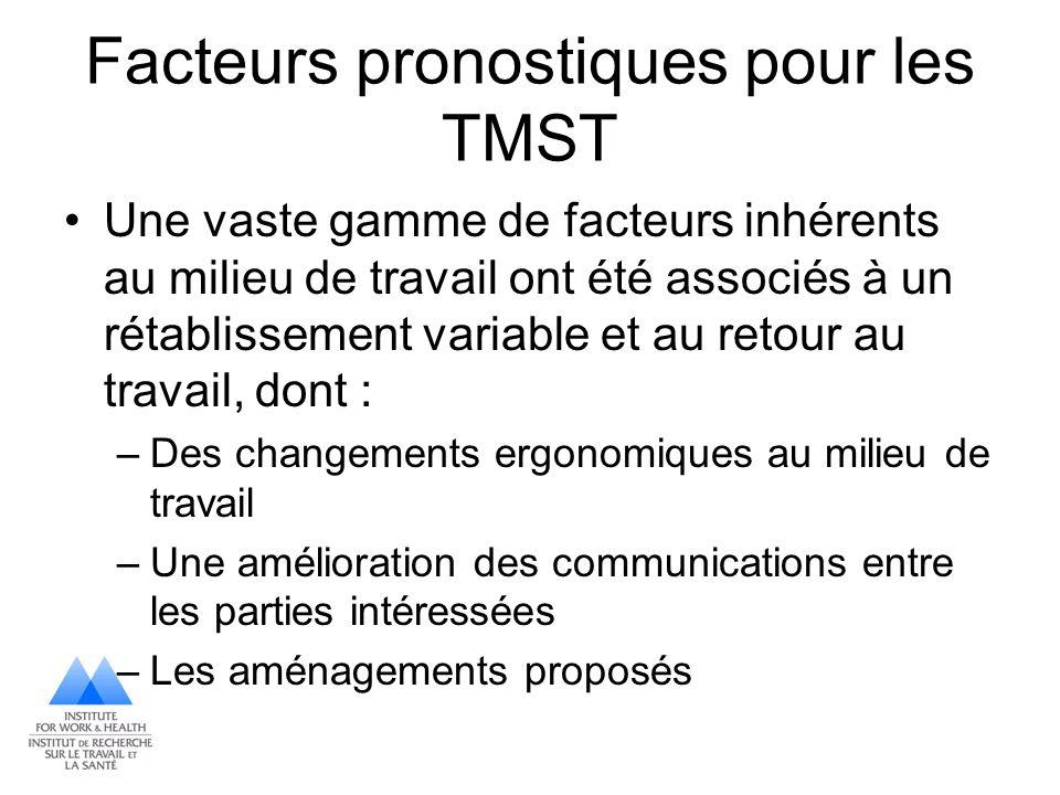 Facteurs pronostiques pour les TMST Une vaste gamme de facteurs inhérents au milieu de travail ont été associés à un rétablissement variable et au ret