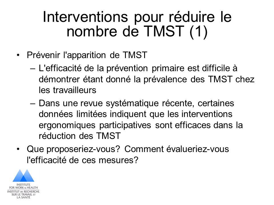 Interventions pour réduire le nombre de TMST (1) Prévenir l'apparition de TMST –L'efficacité de la prévention primaire est difficile à démontrer étant