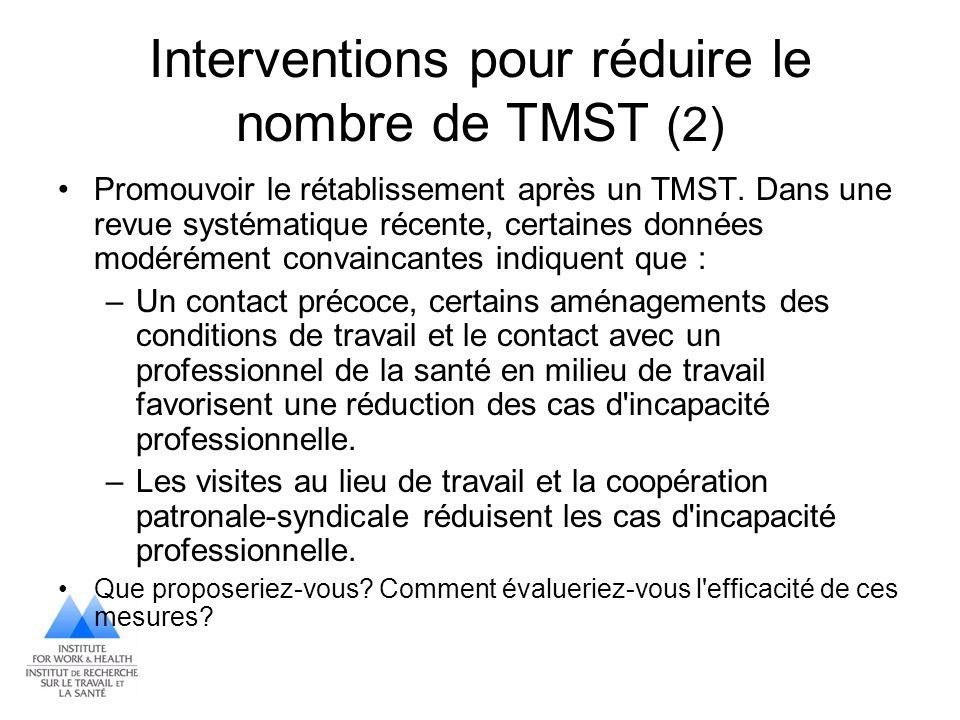 Interventions pour réduire le nombre de TMST (2) Promouvoir le rétablissement après un TMST. Dans une revue systématique récente, certaines données mo