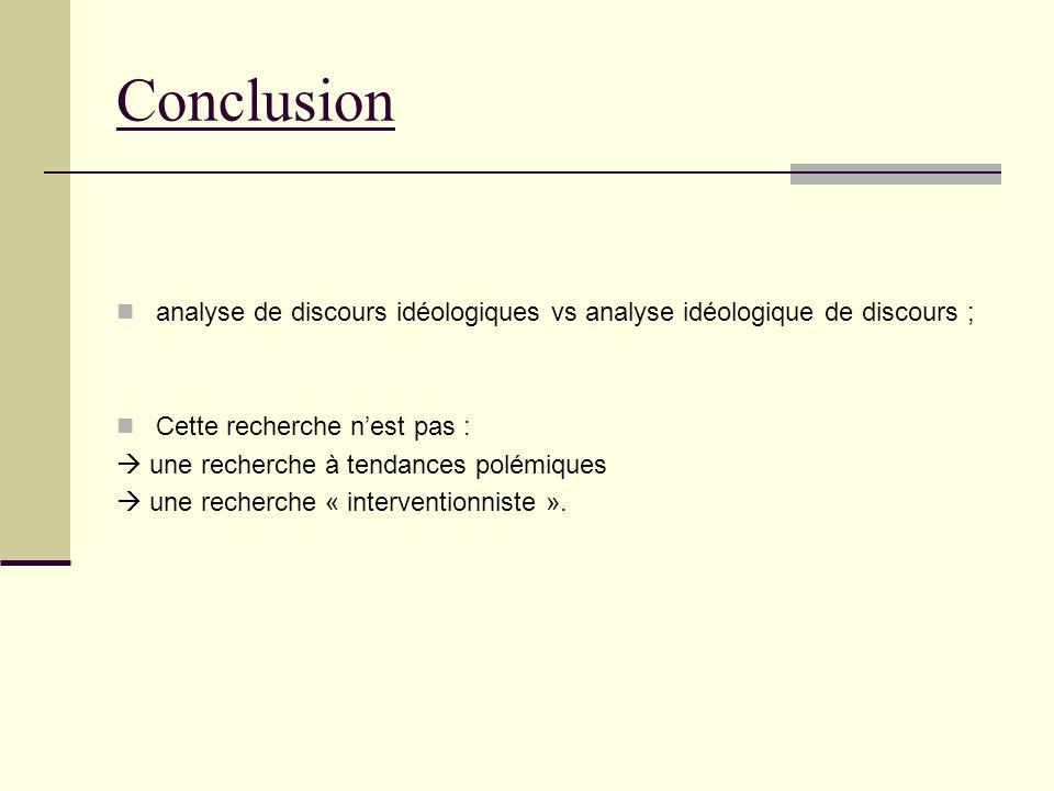 Conclusion analyse de discours idéologiques vs analyse idéologique de discours ; Cette recherche nest pas : une recherche à tendances polémiques une recherche « interventionniste ».