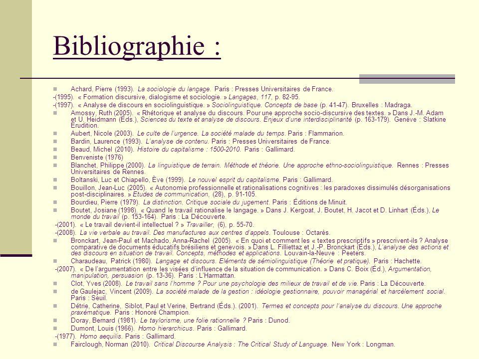 Bibliographie : Achard, Pierre (1993). La sociologie du langage. Paris : Presses Universitaires de France. -(1995). « Formation discursive, dialogisme