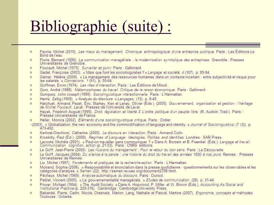 Feynie, Michel (2010). Les maux du management. Chronique anthropologique dune entreprise publique. Paris : Les Éditions Le Bord de leau. Floris, Berna